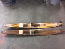 Set of 2 vintage wooden skis w/ covers - good cond