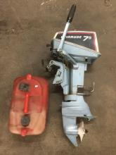 Evinrude 75 outboard boat motor with gas can