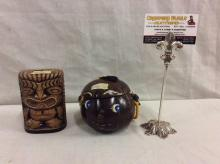 Rare vintage mid century coin banks incl. tiki man & island face cocount coin bank