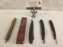 Set of 4 vintage folding razors - one with case as is