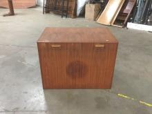 Mid century teak finish chest with simple lines and nice shape - as is - minor wear outside and