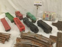1963 Lionel train set w/ engine, 6 train cars, lots of track, LGB Hand painted figurines +