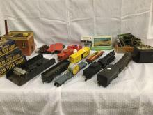 Huge post WWII American Flyer train set w/ 2 engines, transformer, switches, billboards, and track
