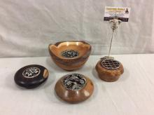 4 wooden small bowls incl. a hand made mesquite wood bowl w/ bird design lid signed