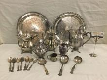 18 pc silver plate set incl 3 coffee/tea pots, 6x 1847 Rogers Bros spoons & more - see pics & desc