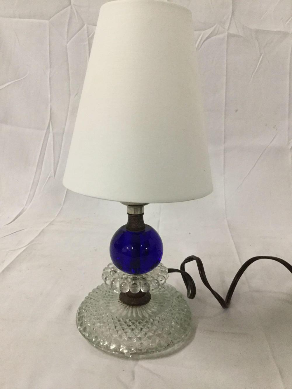 Pair Of Mid Century Blue Ball Design Glass Table Lamps Tested And