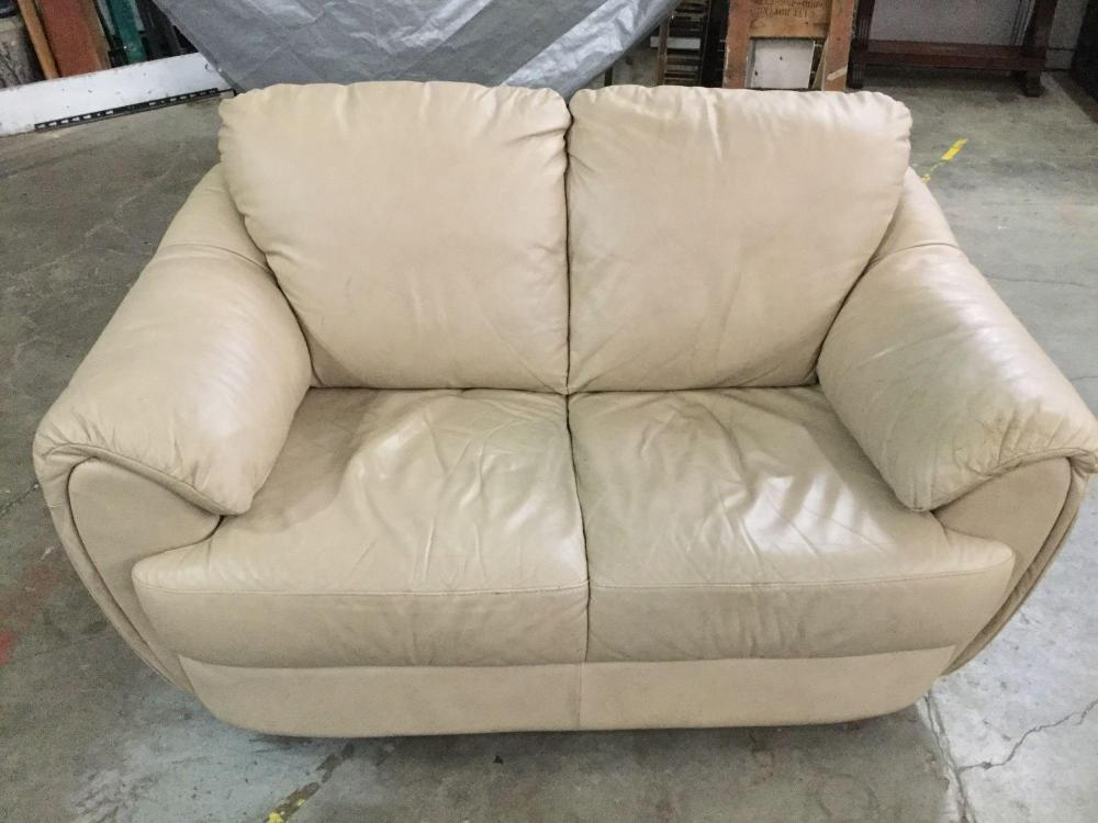 Modern Italsofa High End Cream/white Leather Sofa Love Seat