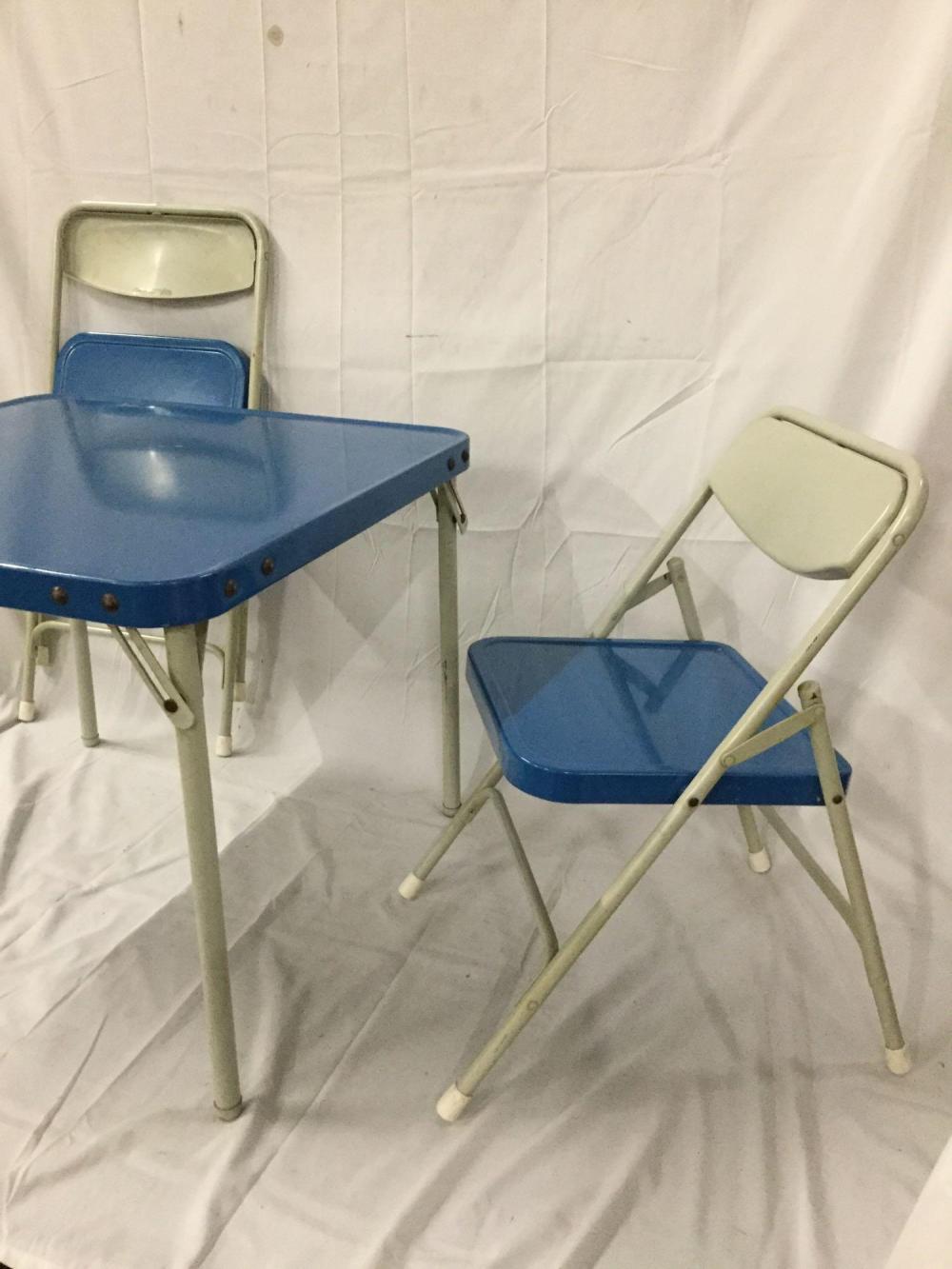 Fabulous Vintage Samsonite 2 Metal Folding Chairs And Folding Table Cjindustries Chair Design For Home Cjindustriesco