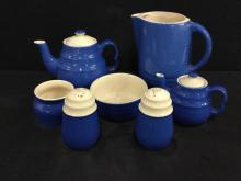 Antique Americana Blue and White Teapot, pitcher, bowls and shaker set