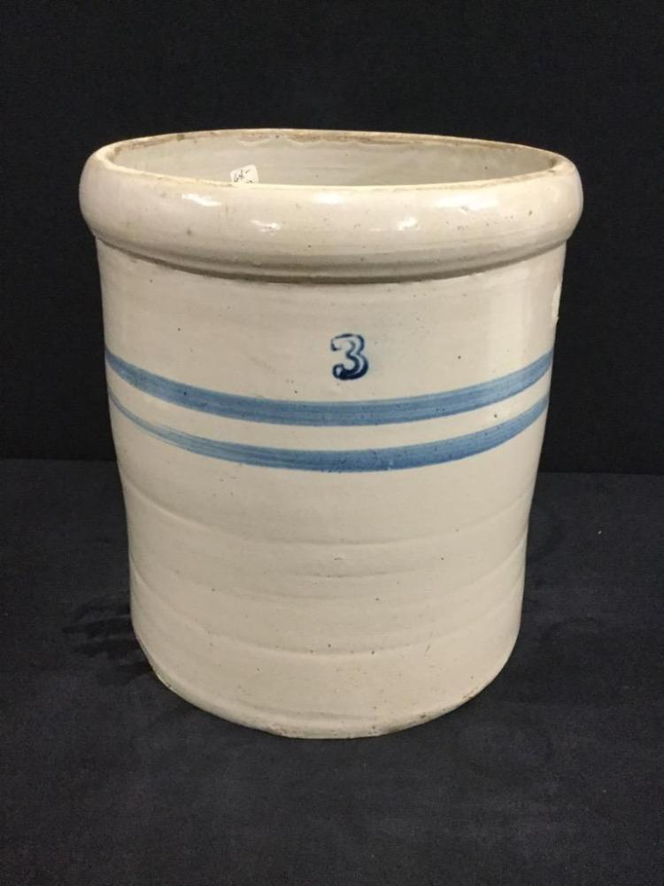 Antique 3 Gallon crock with double blue band - good cond