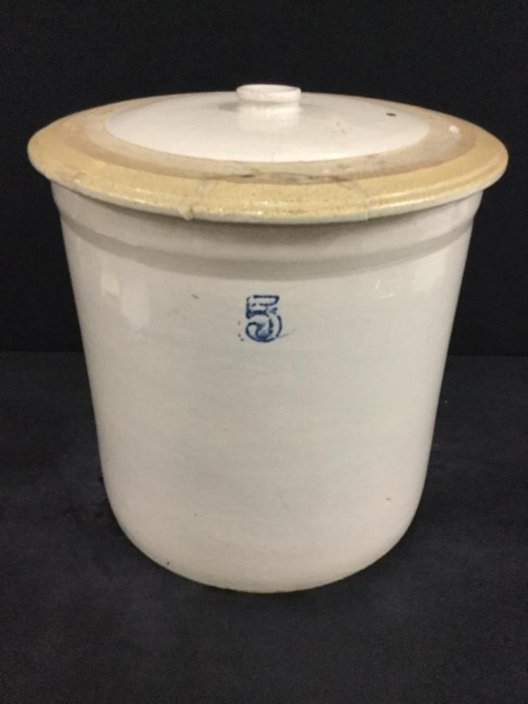 Antique 5 Gallon Lidded crock in fair cond