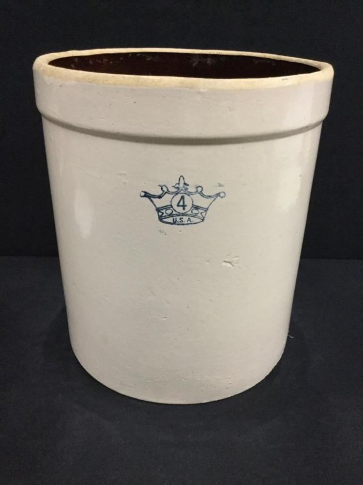 4 gallon USA Antique Crock no lid good cond