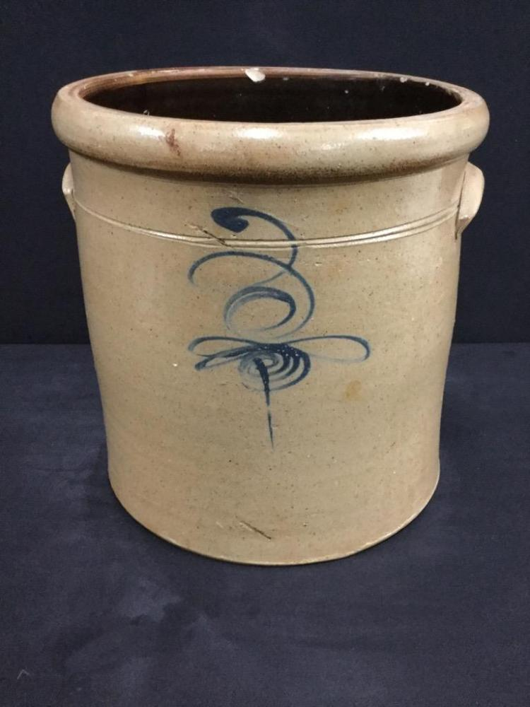 Beautiful Antique double Handled Crock with Cobalt Bee/Wisp design
