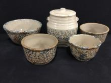 Antique lidded crock and bowl set in good cond