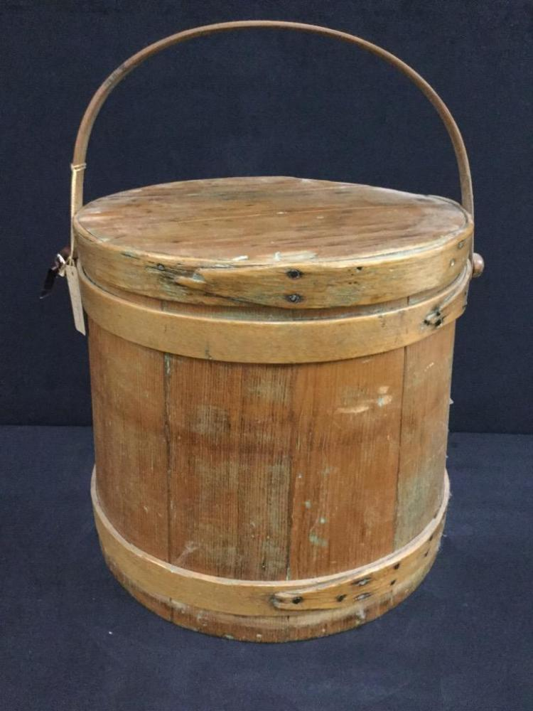 Antique Firken / lidded basket with handle