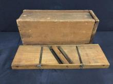 Antique Madnolin/Kraut cutter and Wooden Slide top Food Storage Box