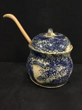 Amazing Antique Lidded Tureen with great design - has lid and ladle
