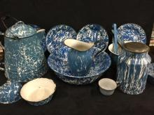 Huge selection of Blue Antique and Vintage enamel Ware