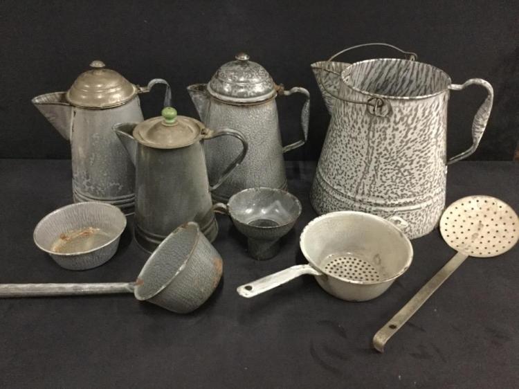 Nice Set of Rarer Gray Antique and vintage enamel and speckleware