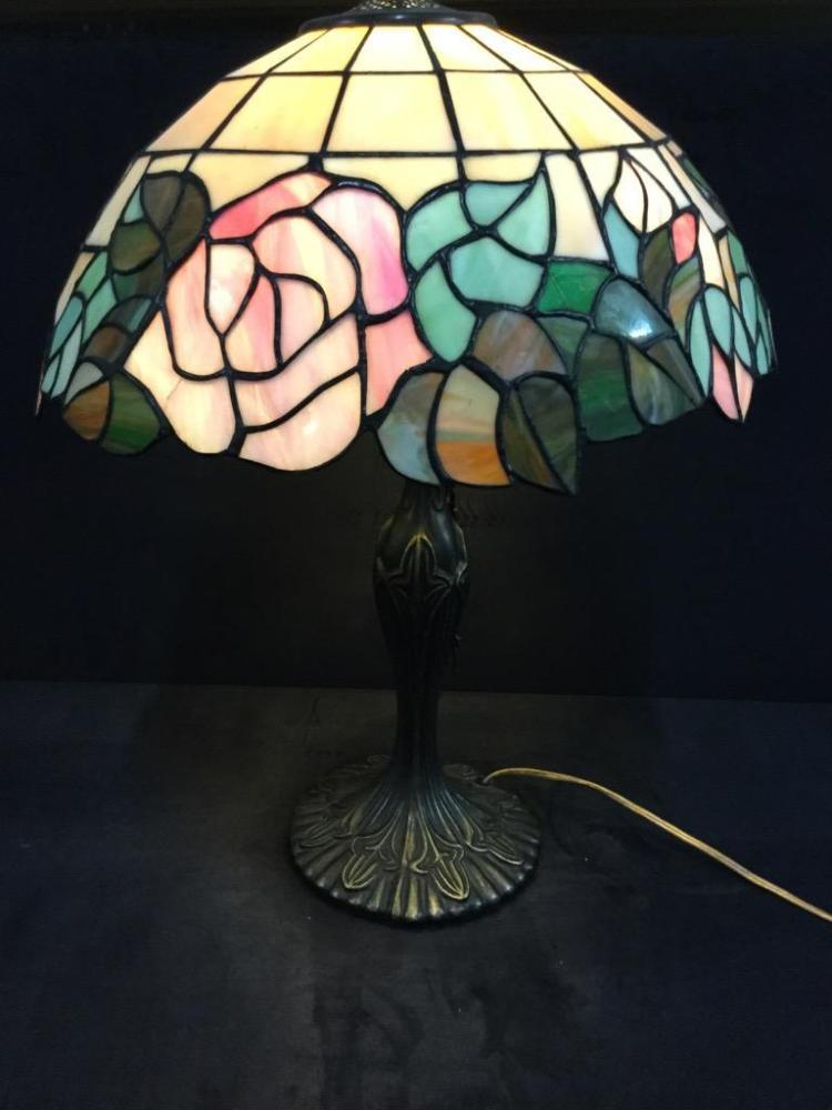 Vintage Tiffany Style Stained Glass/Composite Lamp