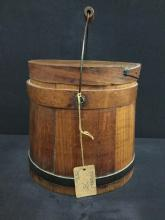 Gorgeous Antique Firken / lidded storage basket with handle