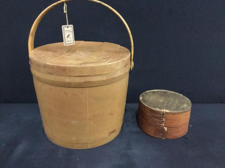Gorgeous Antique Firken / lidded storage basket w/handle - small one has squirrel design