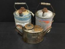 Set of 3 antique oil/gas cans