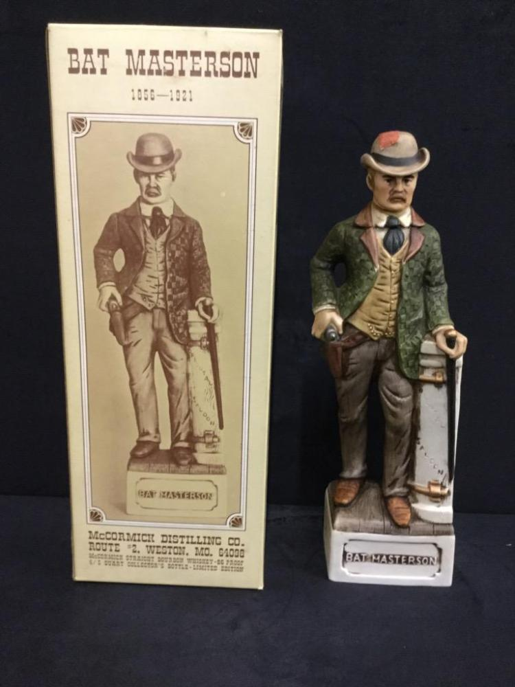 Bat Masterson Mcormick distilling co decanter/figure in box