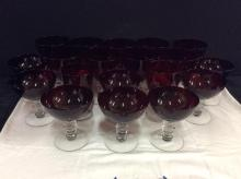 Selection of 19 ruby red antique Americana goblets - most are the same