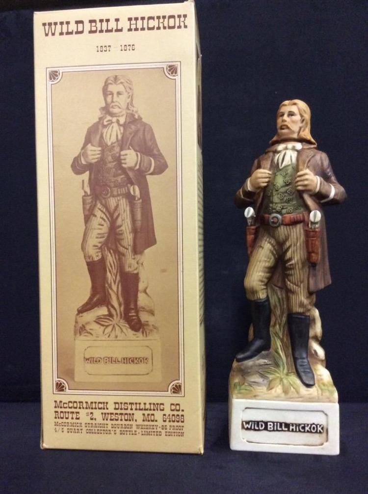 Wild Bill Hicock Decanter / Figure in box by mccormick Distilling Co