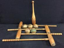 Antique primitive croquet set w/ bat