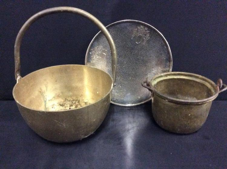 Set of 2 Copper/ Brass handled antique buckets w/ plate