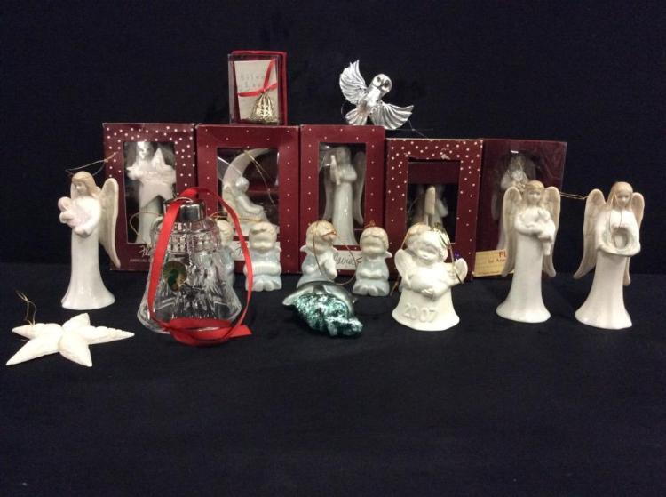 Selection of 20 higher end christmas ornaments - some with box