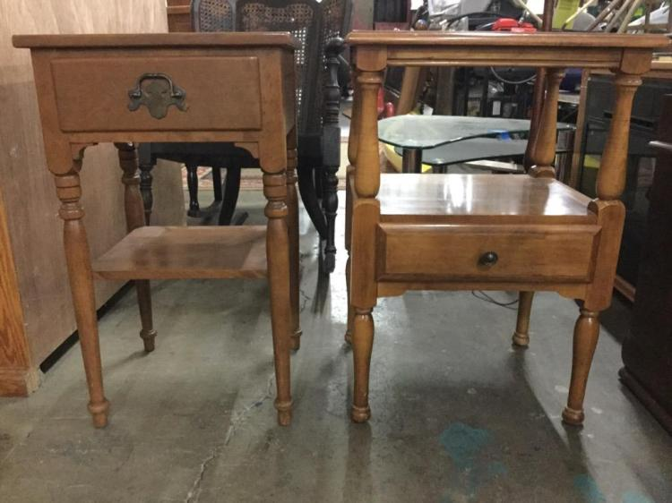 Set of two vintage end tables / nightstands - one Ethan allen
