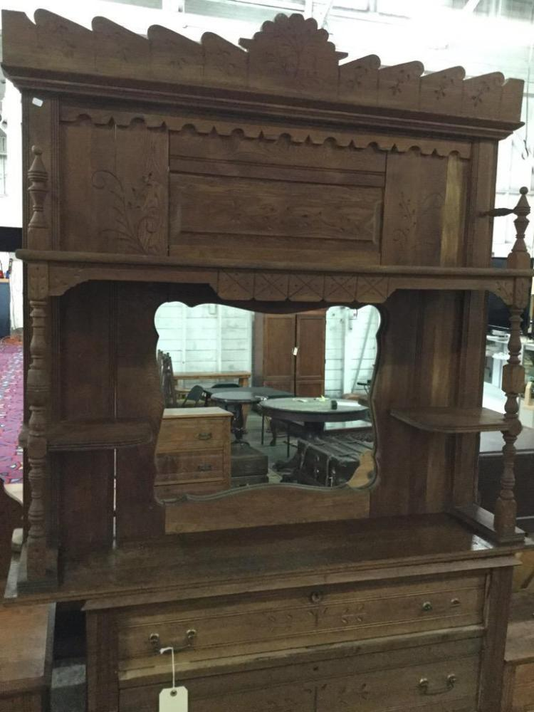 Amazing Eastlake Americana hutch/vanity top with mriror