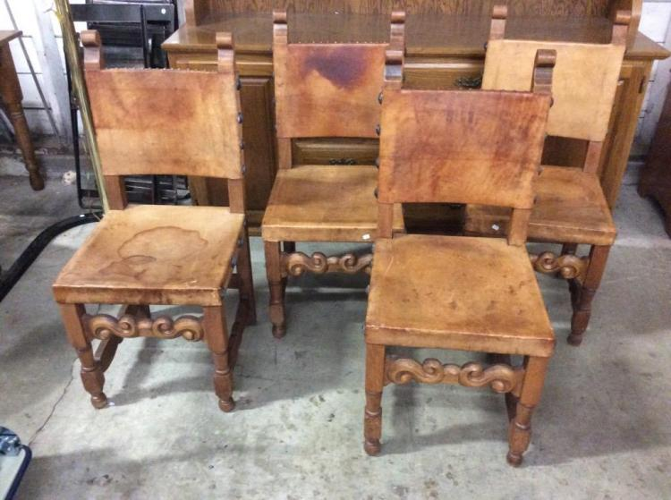 Set of 4 Spanish Mission Style Turn of the Century Leather Chairs