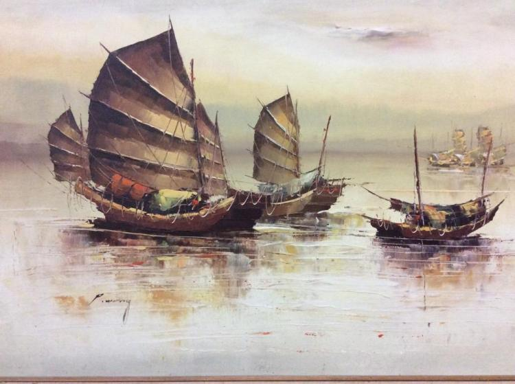 Large Asian Oil Painting of Boats signed P. Wong in frame - nice piece fair cond