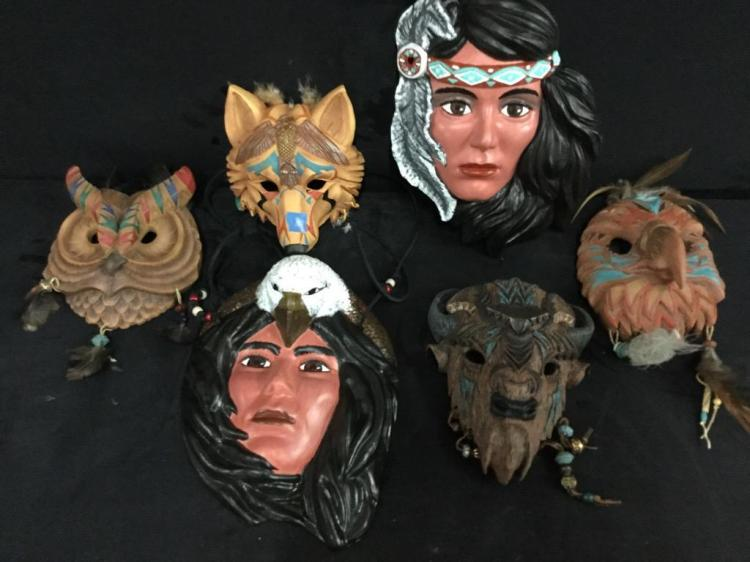 Selection of 6 Native American inspired masks - wall art