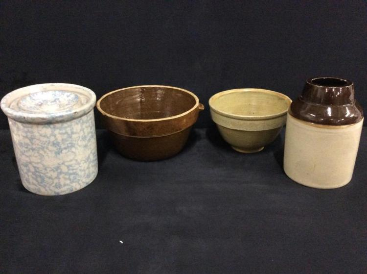 Set of four Antique Crocks/ earthenware bowls - fair cond to good see pics
