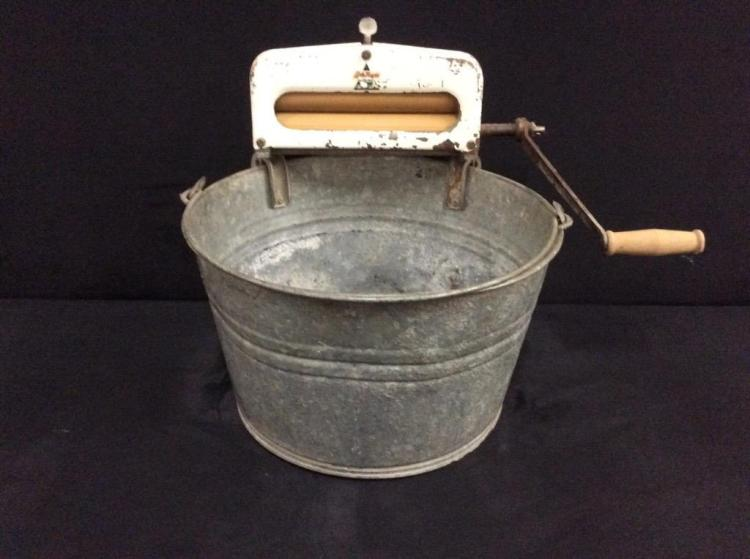 Antique hand crank washer set up
