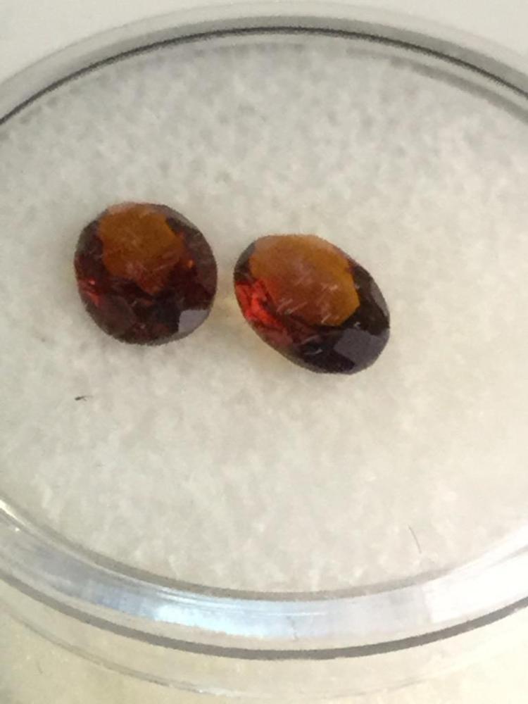 2 Madeira Citrine gems. 1.2 ct. Ea. 7 X 5mm
