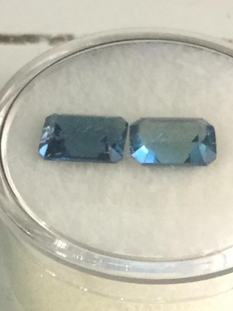 2 Blue Topaz gems. 3.80 ct. 8 X 6 mm