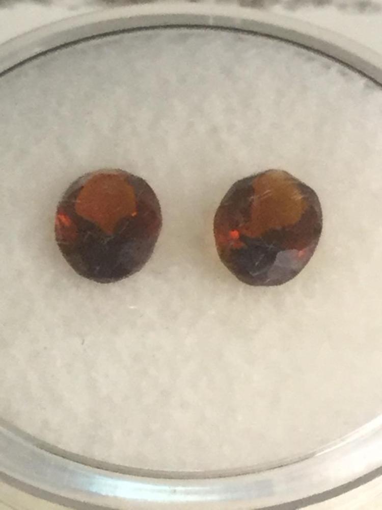 2 Medeira citrine gems. 1.2 ct. 7 X 5 mm