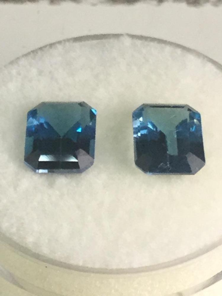2 Blue Topaz gems. 3.8 ct. Ea. 8 X 6 mm