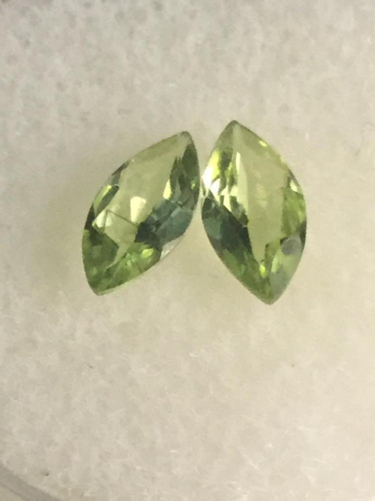 2 Peridot gems. .90 ct. Ea. 8 X 4 mm