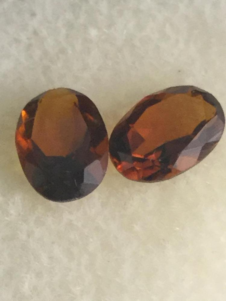 2 Madiera citrine gemstones. 1.20 ct. Ea. 7 X 5 mm