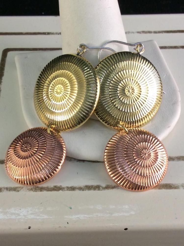 Pair of Sterling Silver At Deco earrings with brass and copper finish
