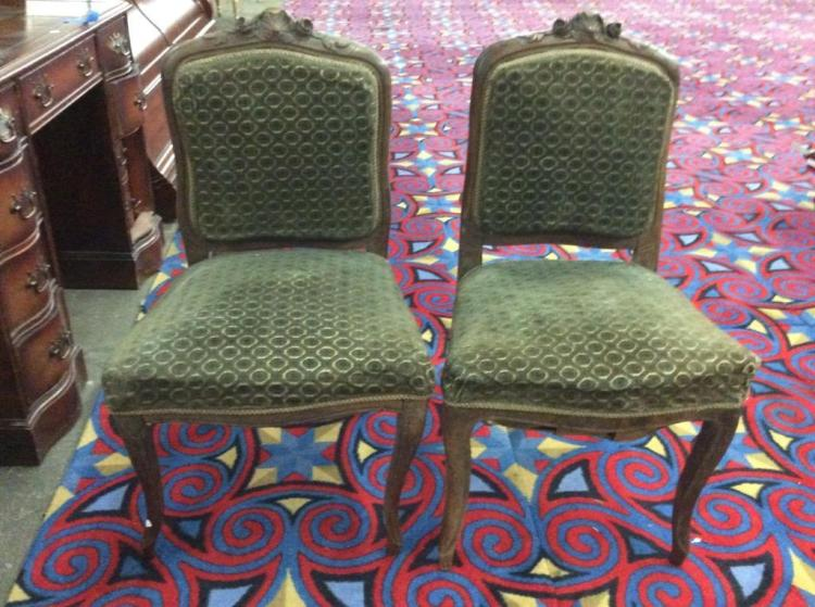 Set of two Antique wide seat parlor chairs - victorian - fair cond