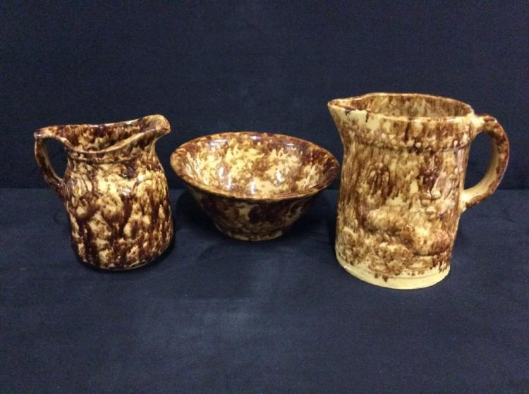 Set of three antique stoneware /
