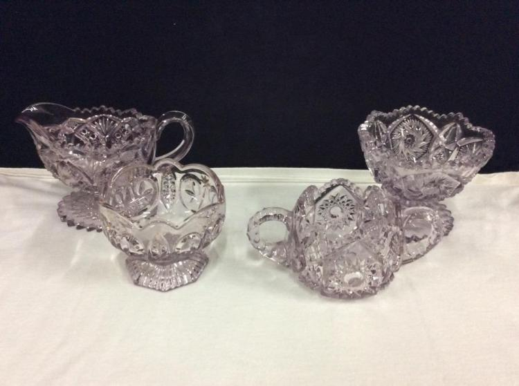 Set of vintage Purple Glasss/Cut Crystal serving pieces